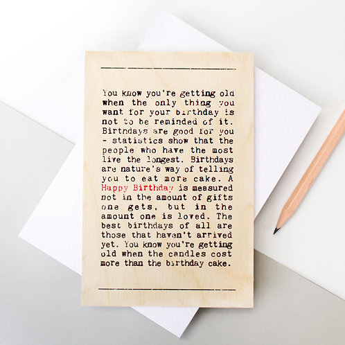 Wise Words Birthday Wooden Card x 6