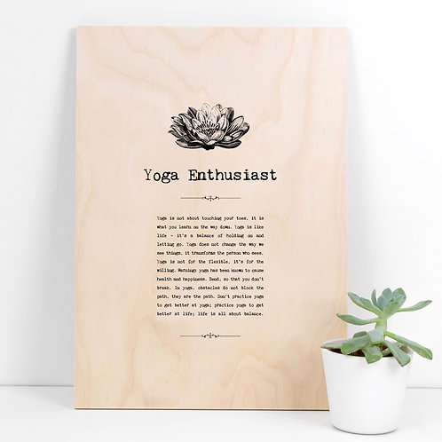 Yoga Enthusiast A4 Wooden Quotes Plaque x 3