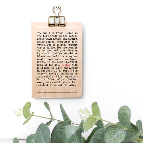Coffee Wise Words Wooden Plaque with Hanger x 3