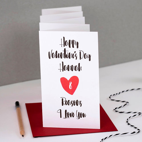 Personalised '8 Reasons I Love You' Valentine's Day Banner Card