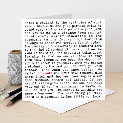 Students Wise Words Greeting Card for Graduations