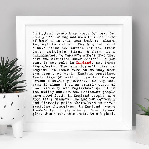 England | Wise Words English Quotes Print