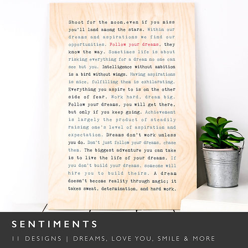 Wise Words SENTIMENTS A4 Wooden Plaques x 3