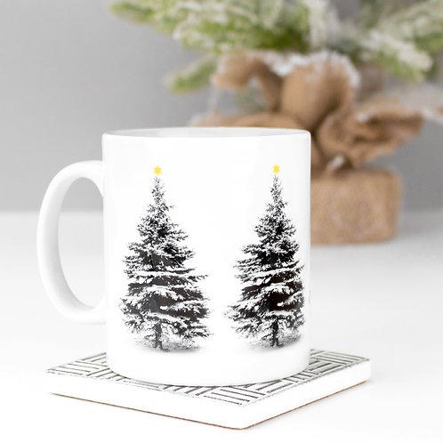 Snowy Christmas Tree Mug x 3