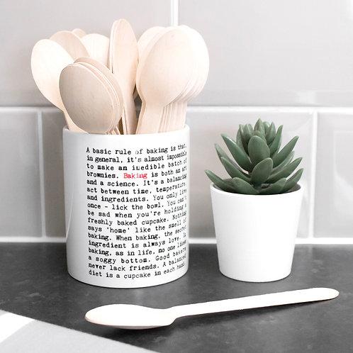 Baking Wise Words Ceramic Utensil Pot