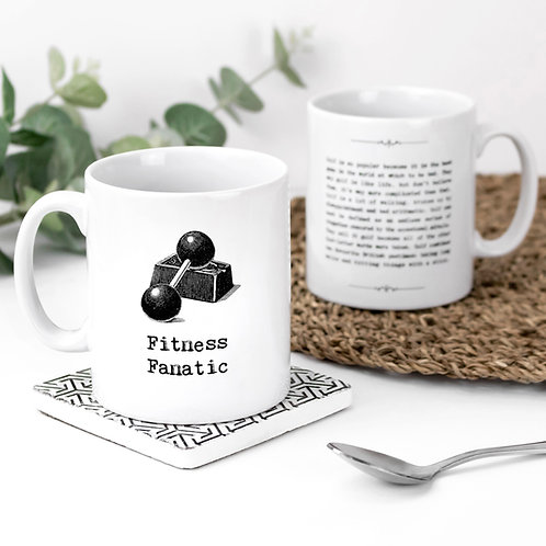 Fitness Fanatic Motivational Quotes Mug for Gym Lovers