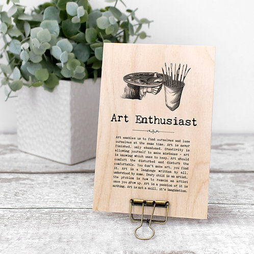 Art Quotes Wooden Sign with Hanger