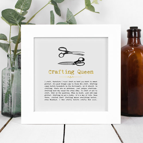 Crafting Queen Personalised Framed Quotes Print
