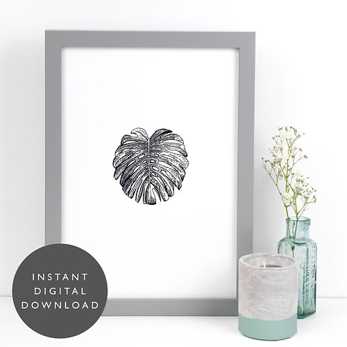 Tropical Monstera Leaf A4 Printable Vintage Wall Art [DOWNLOAD ONLY]