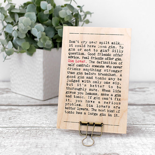 Gin Wise Words Wooden Plaque with Hanger x 3