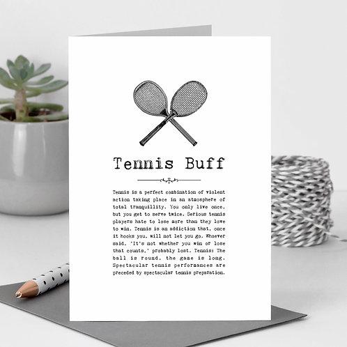 Tennis Buff Vintage Words Greeting Card x6