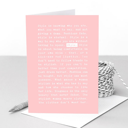 Style Quotes Pastel Greeting Card for Fashionistas