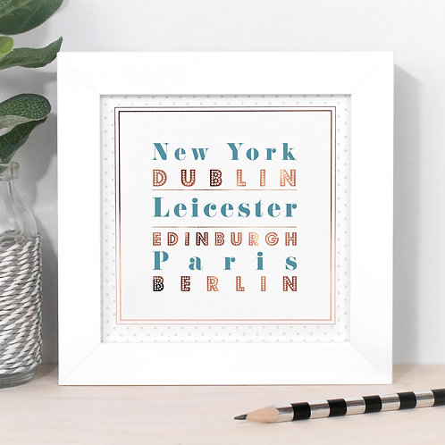 Around the World Personalised Dotty Framed Print in Blue x 3