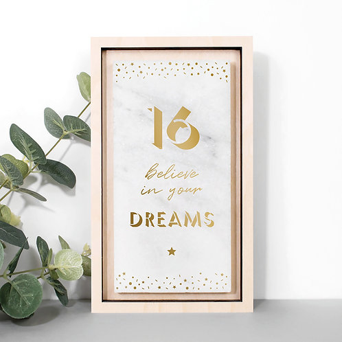 16th Birthday Gold Marble Stone Plaque