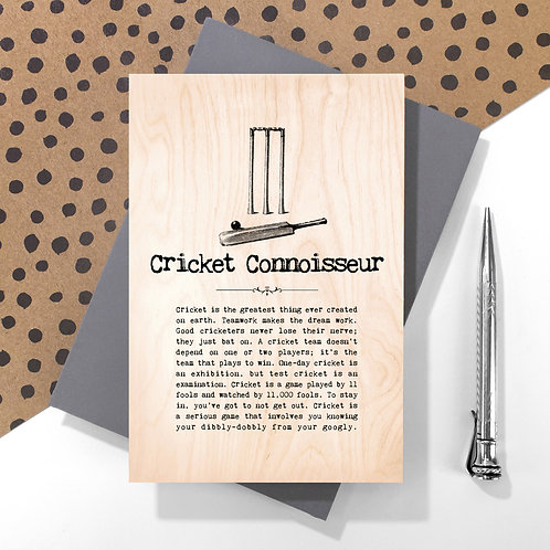 Cricket Connoisseur Personalised Wooden Keepsake Card