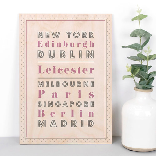 Locations Personalised Dotty Wooden Plaque in Pink x 3