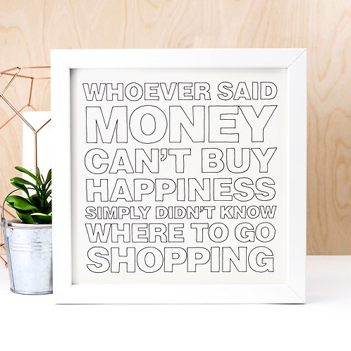 Retail Therapy Funny Unframed Quote Print