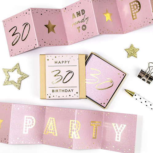 Matchbox 30th Birthday Party Pink and Gold Concertina Card