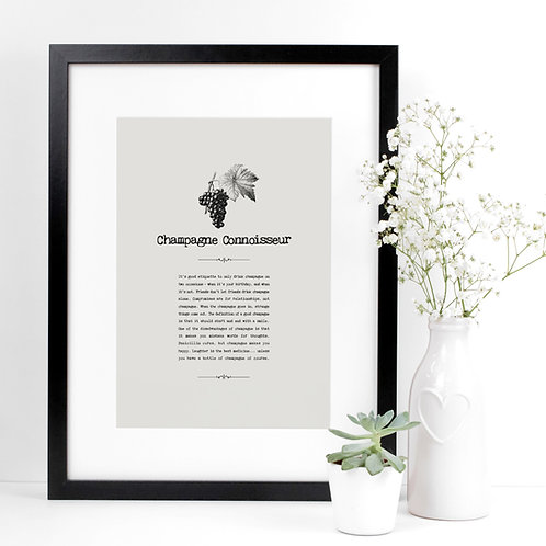 Champagne A4 Quotes Print for Kitchens