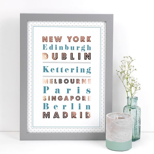 No Place Like... Personalised A4 Dotty Print  x 3