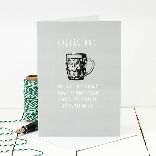 Drinks on You! Funny Beer Father's Day Card for Dad