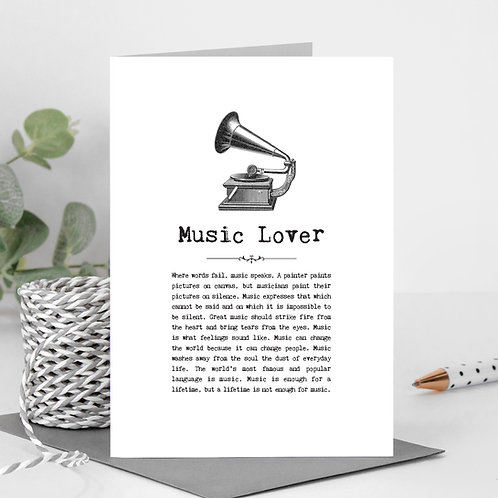 Music Lover Vintage Words Greeting Card x 6