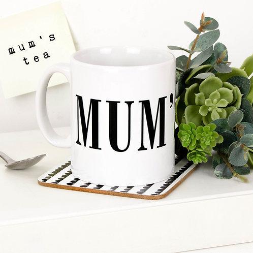 Monochrome MUM'S TEA Mug x 3