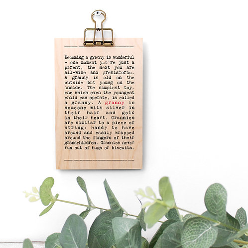 Granny Quotes Wooden Sign with Hanger