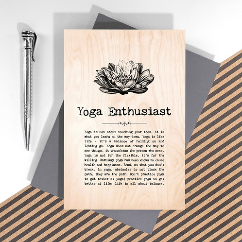 Yoga Enthusiast Mini Wooden Plaque Card x 6