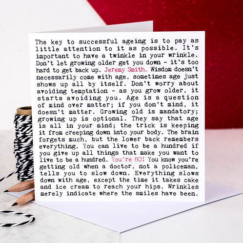 80th Birthday Wise Words Quotes Card