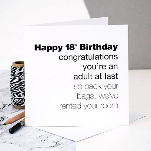 Funny 18th Birthday Card | Adult At Last x 6