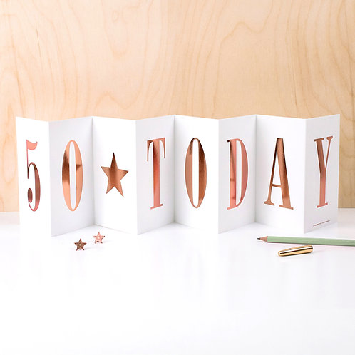 '50 TODAY' Foil Concertina Card x 6