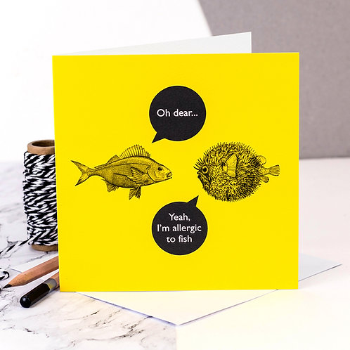 Allergies Funny Fish Card x 6