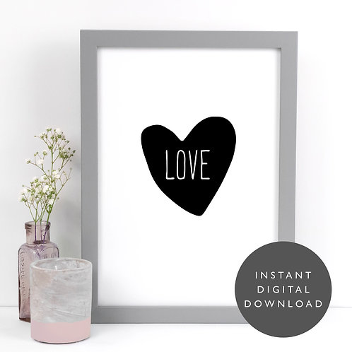 Love Heart A4 Printable Wall Art [DOWNLOAD ONLY]