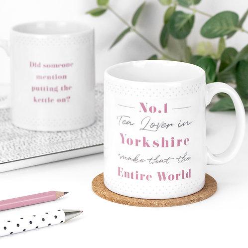 No. 1 Tea Lover Personalised Dotty Mug x 3