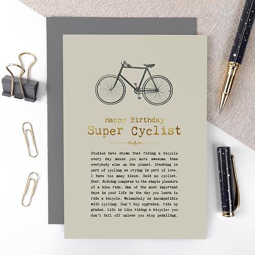Super Cyclist Vintage Foil Birthday Card x 6