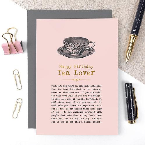 Tea Lover Vintage Foil Birthday Card x 6