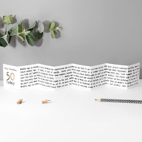 50th Birthday Mini Fold Out Greeting Card