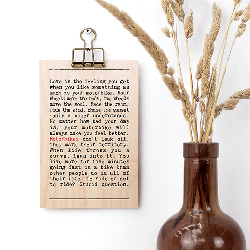Motorbikes Wise Words Wooden Plaque with Hanger x 3
