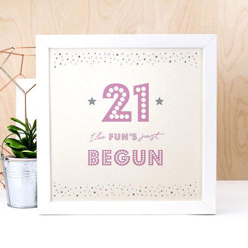 21st Birthday Pearl Typographic Art Print
