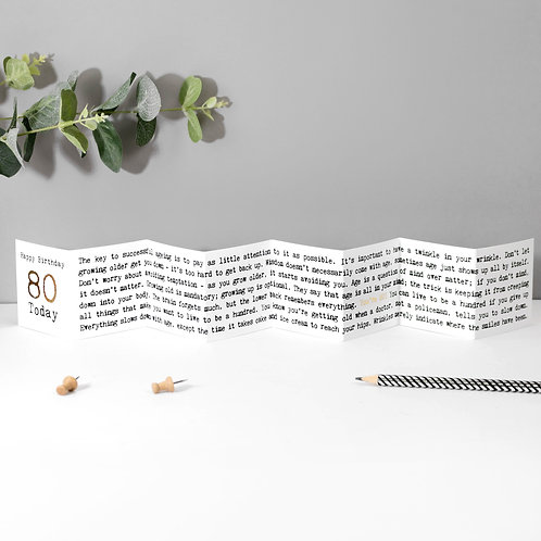80 Today! Fold-Out Mini Birthday Card with Foil x 6