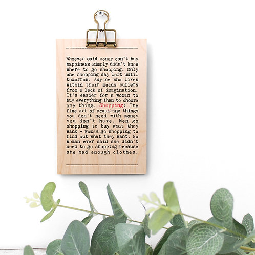 Shopping Wise Words Wooden Plaque with Hanger x 3