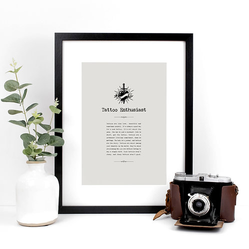 Tattoo Lover A4 Quotes Print