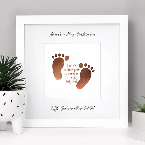 New Baby Feet Personalised Framed Print