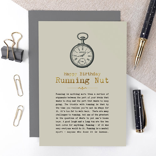 Running Nut Luxury Foil Birthday Card with Quotes
