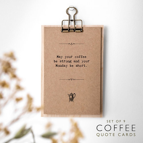 Coffee Lover Quote Cards with Wooden Clipboard