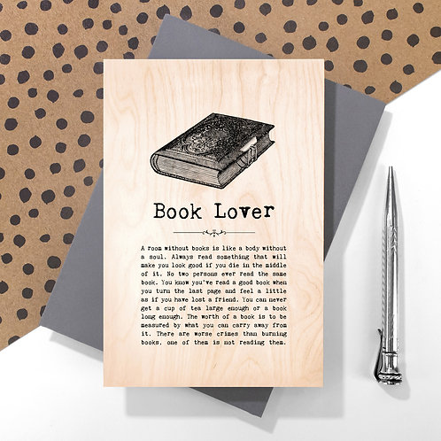 Book Lover Personalised Wooden Keepsake Card