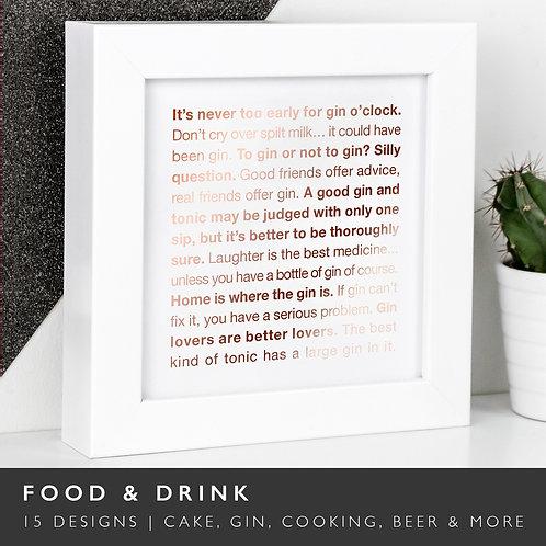 Wise Words FOOD/DRINK Copper Framed Prints x 3