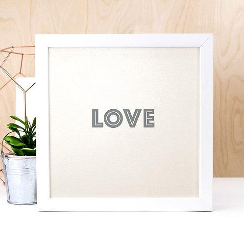 LOVE | Pearl Typographic Wedding Print