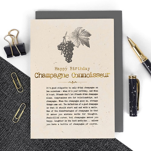 Champagne Funny Quotes Luxury Birthday Card
